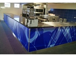 New ACK showroom features Zinc FX commercial vinyl and matt laminate on demo kitchen counter