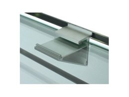 New slatwall glass shelf bracket clips from SI Retail makes indoor shelving easy