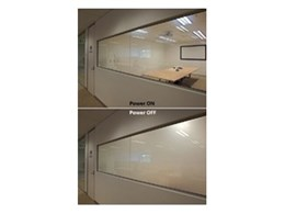 Office boardroom switchable privacy glass available from Record Automated Doors