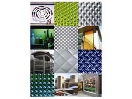 Patterned, coloured stainless steel available from Rimex Metals