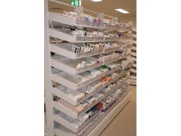 Pharmashelve pharmacy display, shelving and storage systems from Stor-Med