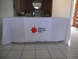 Printed branded corporate tablecloths for Brisbane university