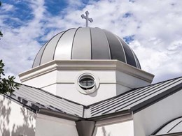 ZC Technical designs roof dome featuring double lock standing seam for Serbian Orthodox Church