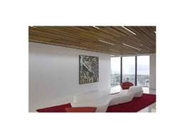 Screenwood ceiling tiles offer the appearance of a linear ceiling grid