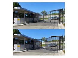 Speed Gate vehicular security entrance gates from Record Automated Doors installed at Integral Energy complex