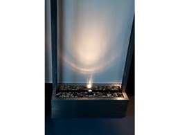Stainless steel and glass contemporary water features available from Infinity Trading