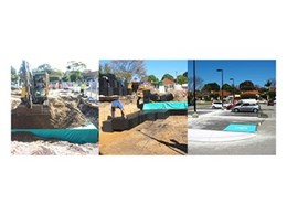 Storm water infiltration tank installed under carpark in Perth