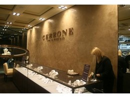 Stucco Veneziano decorative plaster finish from IDC Colourfield installed for new Cerrone Store