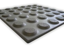 TGSI ceramic hazard and directional indicator tile range available from Tactile Systems Australia