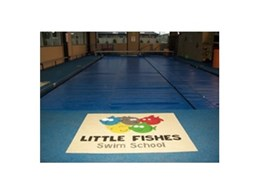 TPV rubber wetpour pool surrounds from Synthetic Grass & Rubber Surfaces (Aust) installed at Little Fishes Swim School