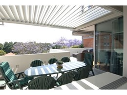 Vergola outdoor louvre roofing system installed in Bellevue Hill apartment