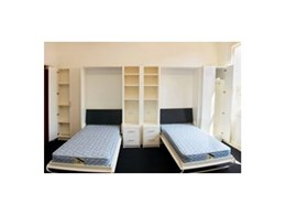 Wall mounted fold away beds from Germaine's Furniture installed at Northern Melbourne Institute of Technology