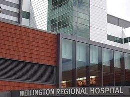 Nullarbor terracotta roof tiles installed on Wellington Hospital facade in unique vertical application