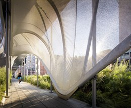 Hadid curves fabric not concrete for New York Highline pedestrian shelter