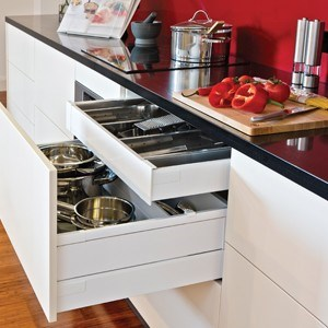 Drawer system delivers functionality to a kitchen