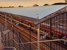 Weatherproof train station built with FreeForm roofing material in Adelaide