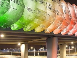 Colour changing lighting along urban highway creates spectacular entry into Perth