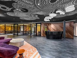 Custom Ontera rug style carpet tiles installed at Stellar Entertainment HQ in Sydney