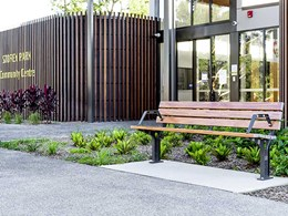 Playground furniture with aluminium woodgrain battens meets Council's brief