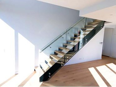 Open tread staircase using engineered timber