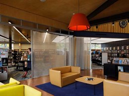 New Sumner library gets seamless security with visually striking folding deterrent screens