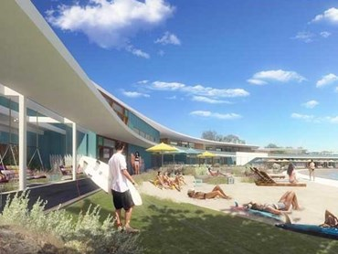 The proposal for Urbnsurf Perth by MJA Studio and Wave Park Group features a 2.4 hectare lagoon and a range of club facilities (Wave Park Group)