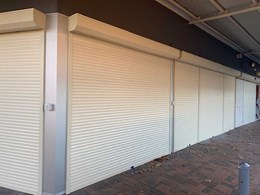 Commercial roller shutters with remote operation and sequential relay