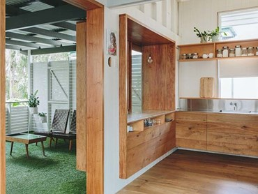 Mafi timber in Chris Hing Fay's Teneriffe home