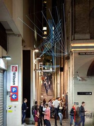 Tensile-designed catenary lighting installation for Abercrombie Lane wins at Sydney's Art & About Festival