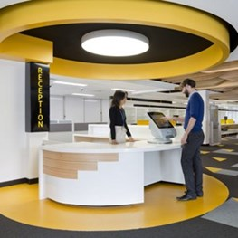 Wayfinding in Brisbane, TMR Customer Service Centre by MODE architects