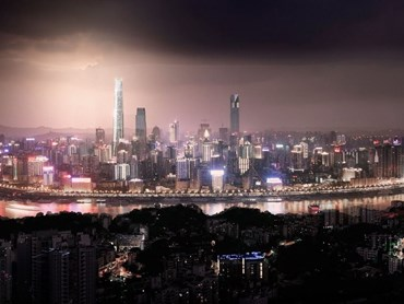 Woods Bagot's Chongqing Tall Tower in China will on display at the Living in the city exhibition.  Image: Woods Bagot