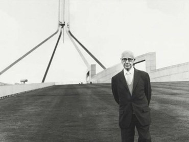 Romaldo Giurgola, in front of the 'new' federal parliament in Canberra. Image: National Library of Australia