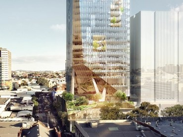 BVN say that 301 Whickham will become Australia's first tower to genuinely incorporate biophillic design into the actual make-up of the tower. Image: BVN