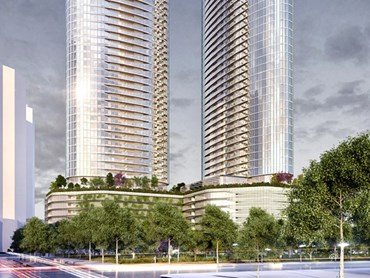 The 8800+ sqm site in Melbourne's Fishermans Bend, with approval for two towers and 940 apartments