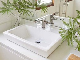 Titanium finish tapware for bathrooms to match timber, stone and ceramic surfaces