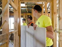 USG Boral and Melbourne High School volunteers help Habitat for Humanity build homes for bushfire-affected families
