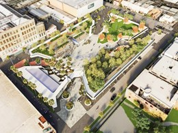 Public park designed by Lyons and Aspect Studios to replace suburban carpark in Prahan, Melbourne