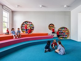 Bright colours and bold cut-outs define learning spaces in Frankston Centre