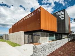 Fort-like police station with unusual sustainability features