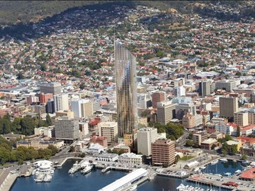 If approved, Davey Street Hotel would be more than twice the height of Hobart's current tallest building. Image: Xsquared Architects