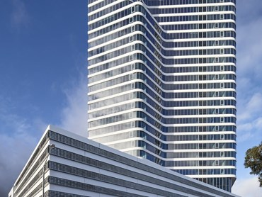Forge tower by Mirvac stands over 100-metres tall and contains 228 residential apartments. Image: Mirvac