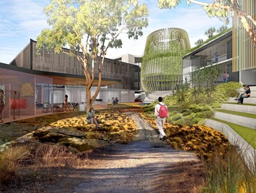 Draft render of the proposed courtyard for St. Catherine College's new Indigenous accommodation wing. Image: Wilson Architects