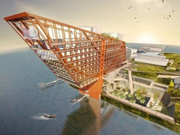 The design for Mona's proposed on-site hotel, called Homo, is reportedly modelled off California's Golden Gate bridge. Image: Fender Katsalidis Architects