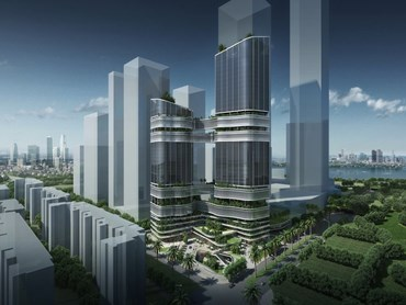 GroupGSA's mixed-use tower design was inspired by the repeating hexagons in a carbon atom. Image: GroupGSA