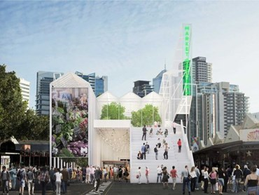A temporary pavilion by Breathe Architecture will provide a home for stallholders while the redevelopment is underway. Image: Breathe Architecture