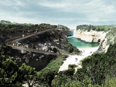 A set of stairs connecting Loch Ard Gorge to the beach forms part of future stages of the Shipwreck Coast Master Plan. Image: McGregor Coxall