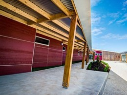 Weathertex EcoWall stands out in bold colours on Woodonga West Primary School