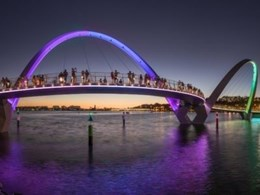 Tensile customises webnet mesh to support balustrades on Elizabeth Quay Bridge