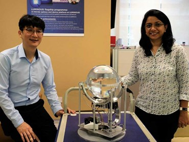 Assistant Professor Yoo Seongwoo (left) and Dr Charu Goel with their daylight harvesting invention
