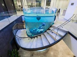 TemperShield glass specified for balustrading on spiral staircase wrapped around giant aquarium